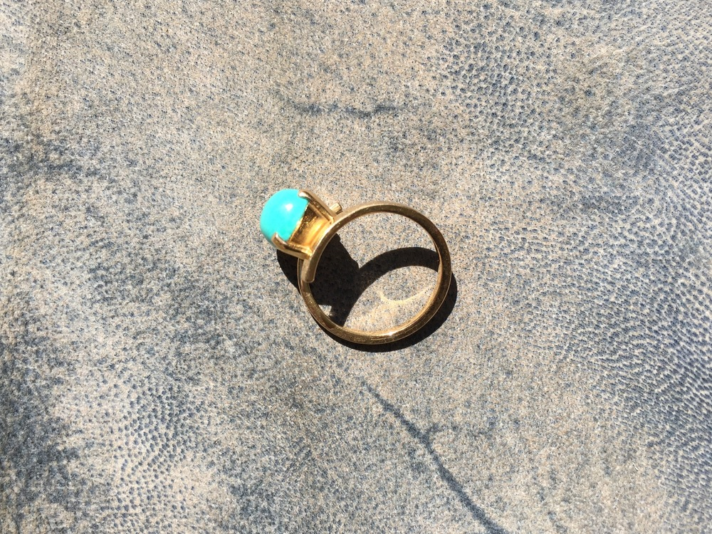 sleeping beauty turquoise wrap ring in 18ct rose gold