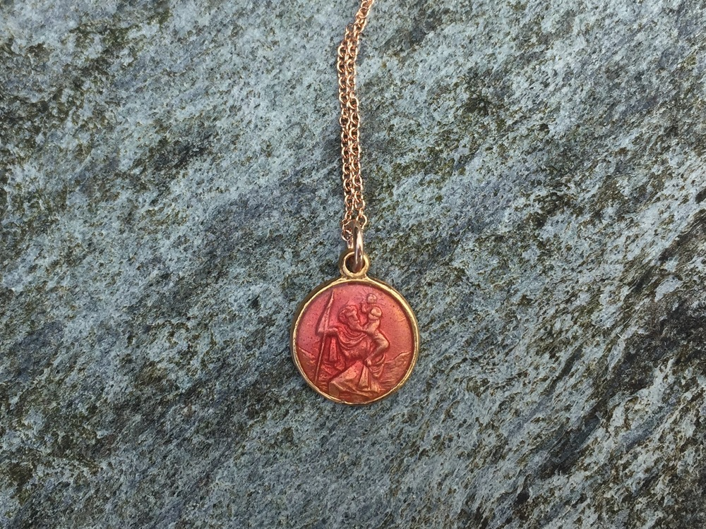 pink coral enamelled st christopher