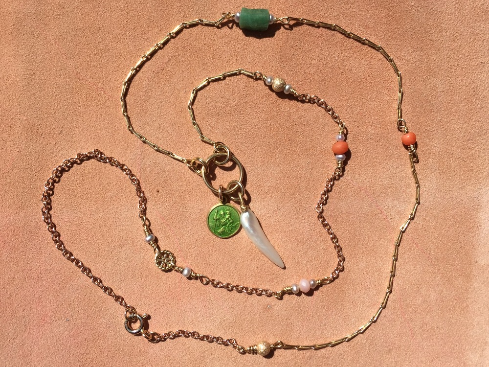 18k gold multi chain co-creation necklace with lime green 18k St Christopher and Mississippi river pearl pendant