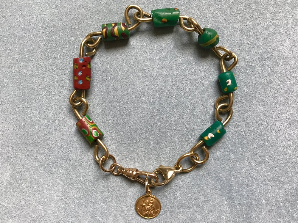 African Trade Bead and handmade green gold link bracelet with rose St Christopher .jpg