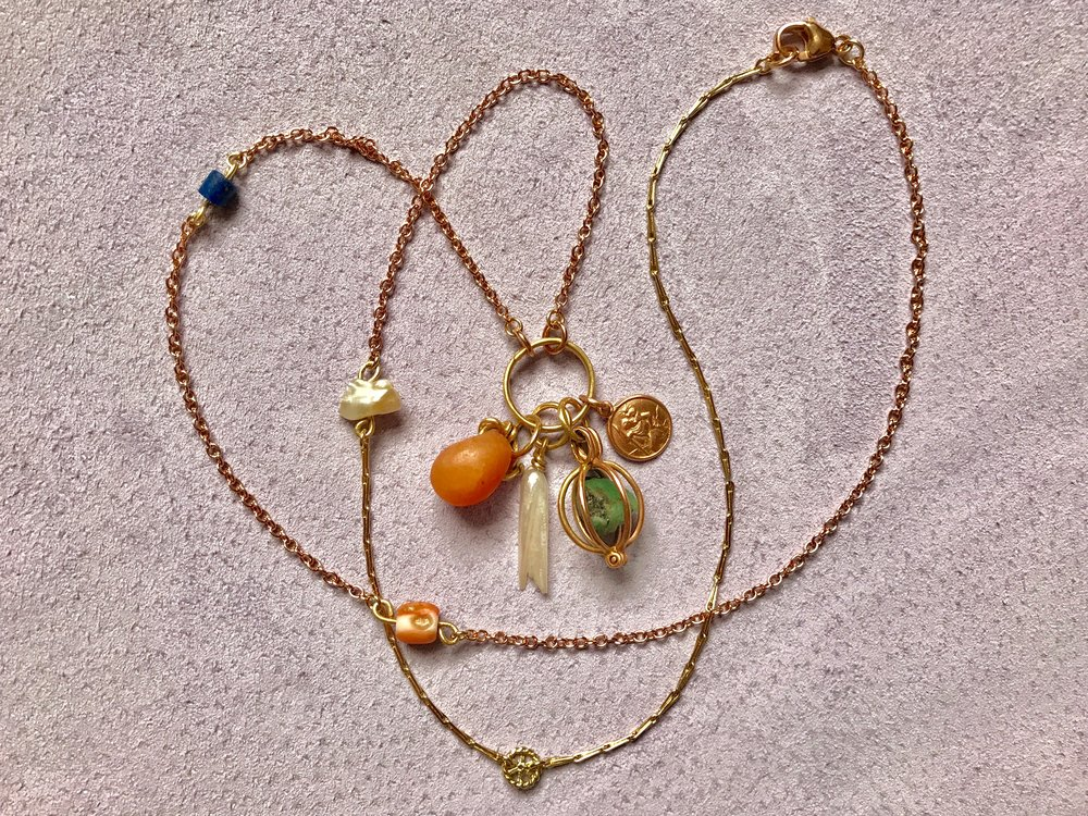 MIXED CHAIN NECKLACE WITH CARNELIAN, MISSISSIPPI PEARL, TURQUOISE BASKET AND ST. CHRISTOPHER MEDALLION