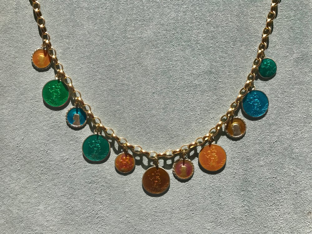 MULIT COLOURED ENAMEL ST. CHRISTOPHER MEDALLION NECKLACE