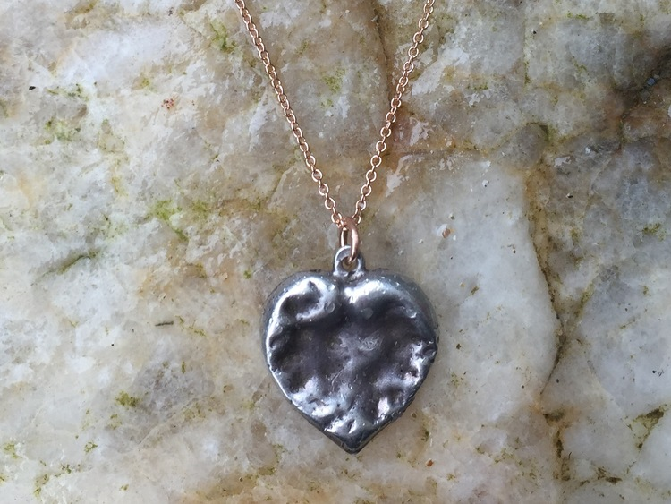 STERLING SILVER CHEWED HEART ON FINE ROSE GOLD CHAIN