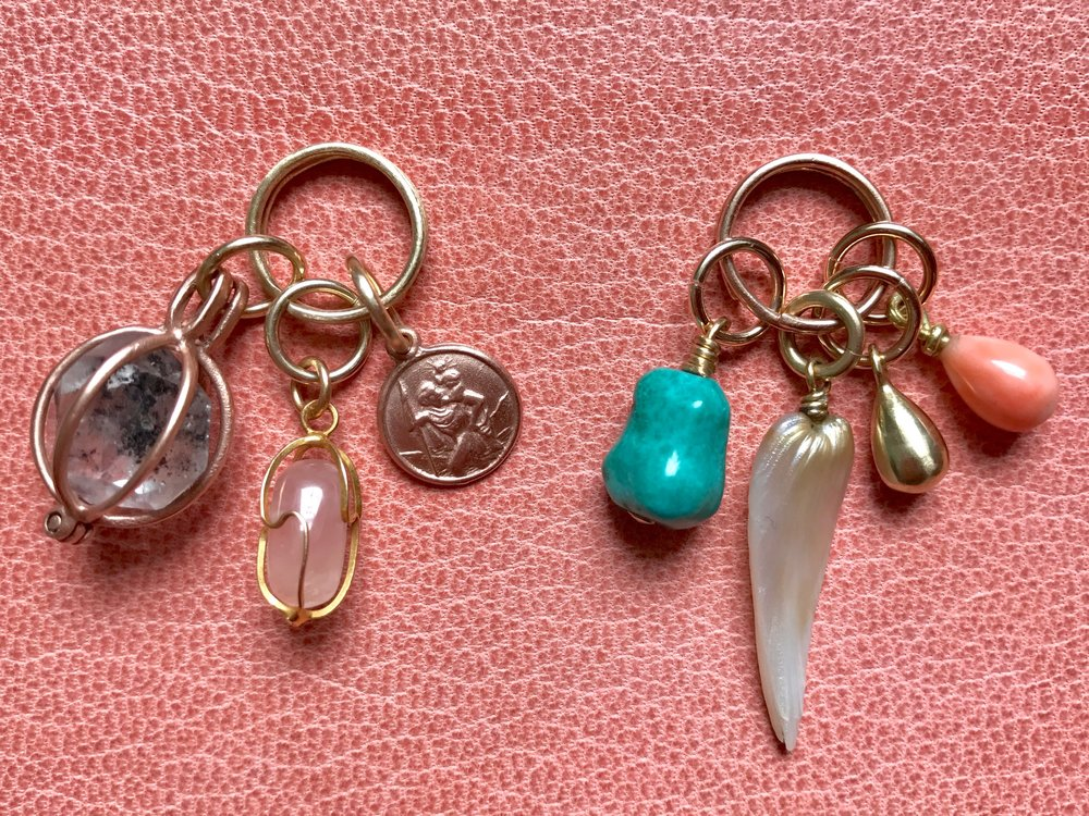 HERKIMER DIAMOND, ROSE QUARTZ, ST.CHRISTOPHER, TURQUOISE, MISSISSIPPI RIVER PEARL, GOLD TEARDROP, ANGEL SKIN CORAL