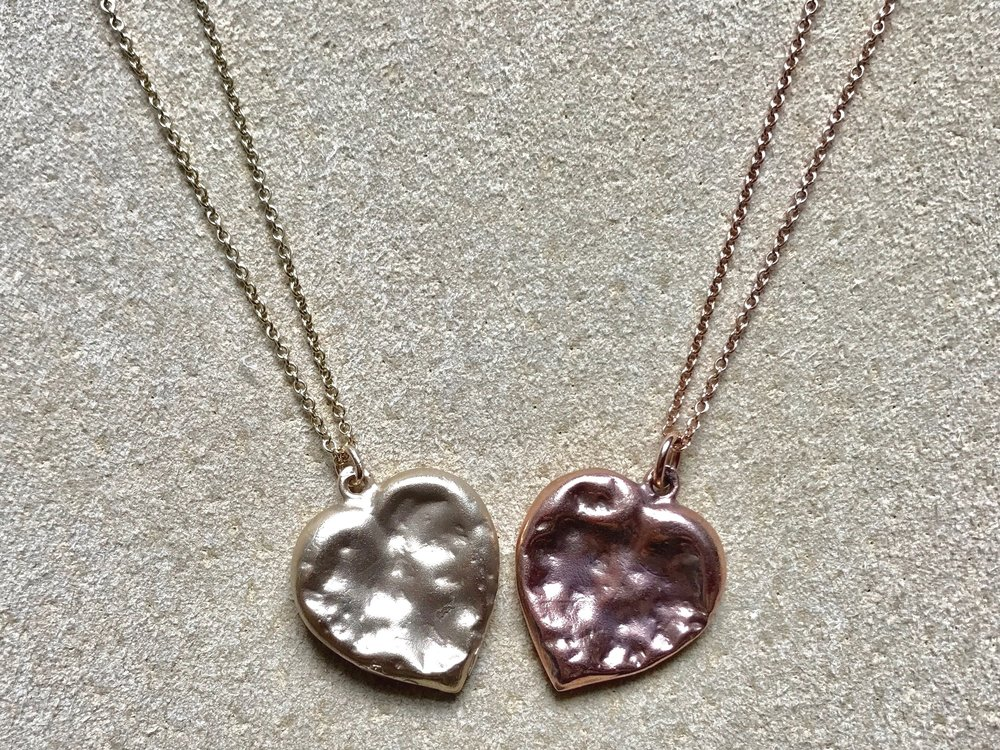 YELLOW & ROSE CHEWED HEART PENDANT NECKLACES