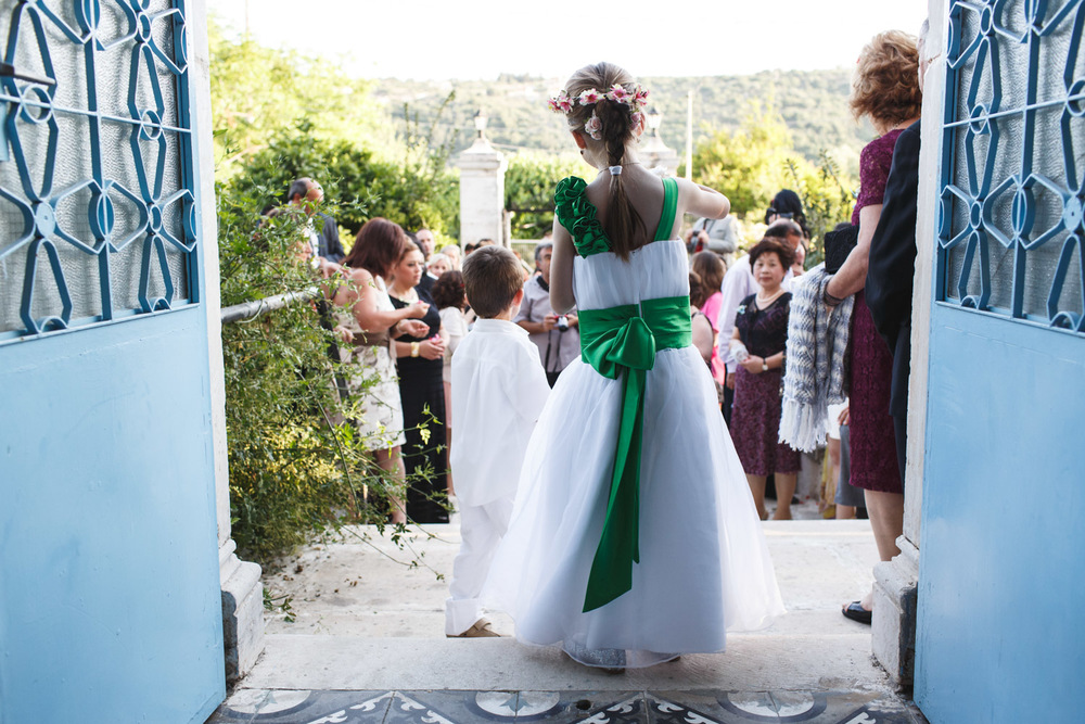 Flowergirl Destination Wedding Greece John Colson Wedding Photography