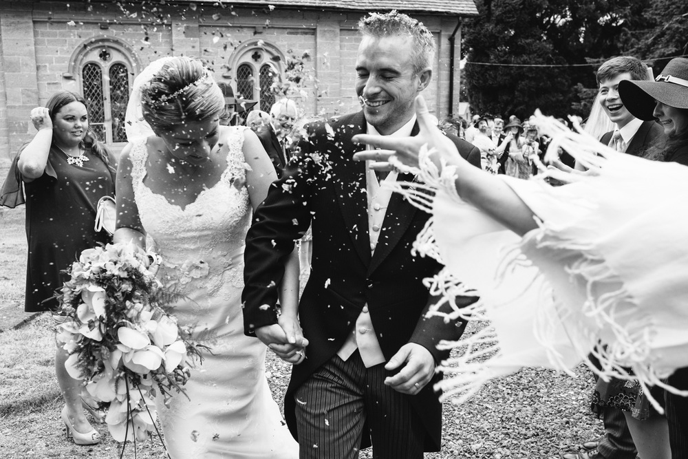 Bride and Groom Confetti Shropshire Wedding John Colson Photography