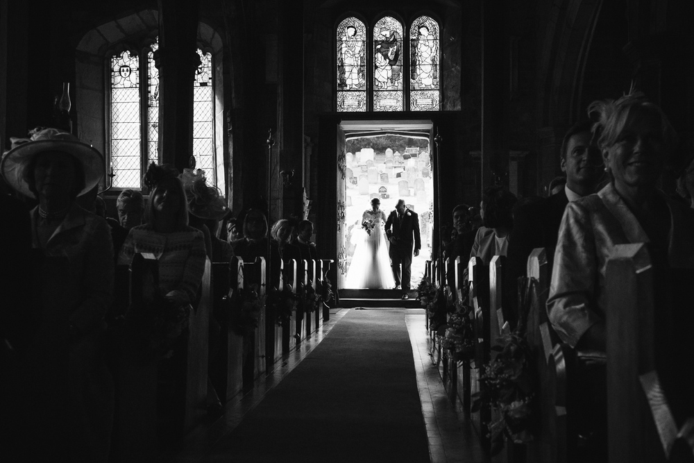 Bride and Father walking down the aisle in Worcestershire..
