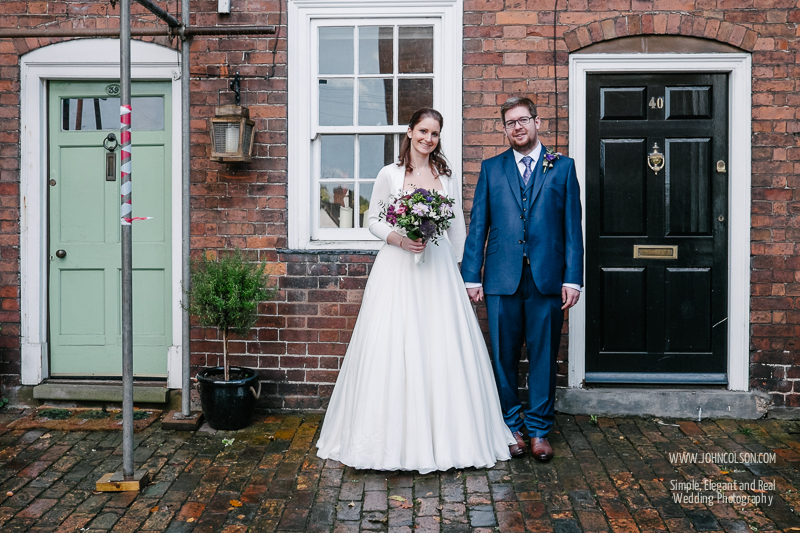 Ben and Liz met whilst living next door to one another in Bewdley and they wanted a quick photograph straight after the ceremony outside of their old houses. Sadly when we got there one of the houses had a stack of scaffolding erected outside… :-( But still, it was really nice for them to be able to have a record of this major part of their relationship.
