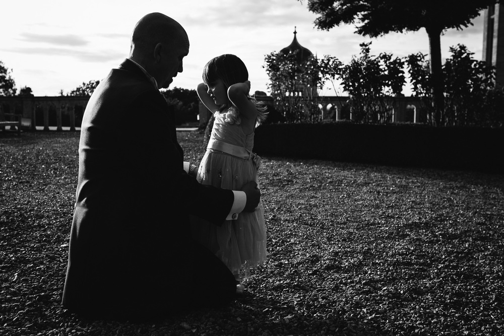 Grandfather and GrandDaughter at a Harlaxton Manor Wedding.