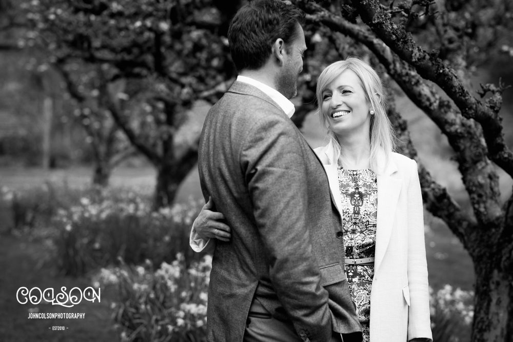 Caroline and James, ahead of their May wedding in Arley.