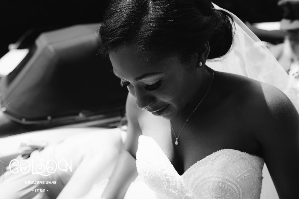 Beautiful Toyosi arriving at church for her wedding to Dolapo.