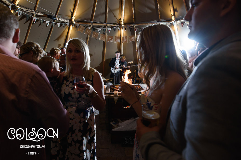 Leah and Ben celebrated with family and friends in the Tipi at the Crown Inn in Hallow, Worcestershire. Ben Stancombe provided some wonderful musical entertainment.