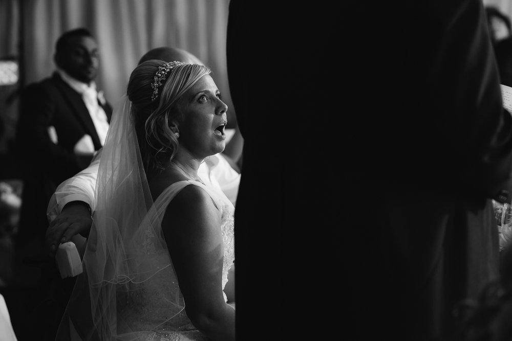 Bride during the wedding speeches.