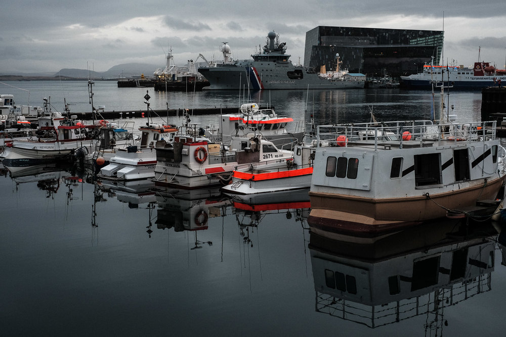 Reykjavik Harbour. Note the Coast Guard vessel in the background. Iceland does not have any form of Military and only has 4 Coast Guard vessels, one of which is seen here.