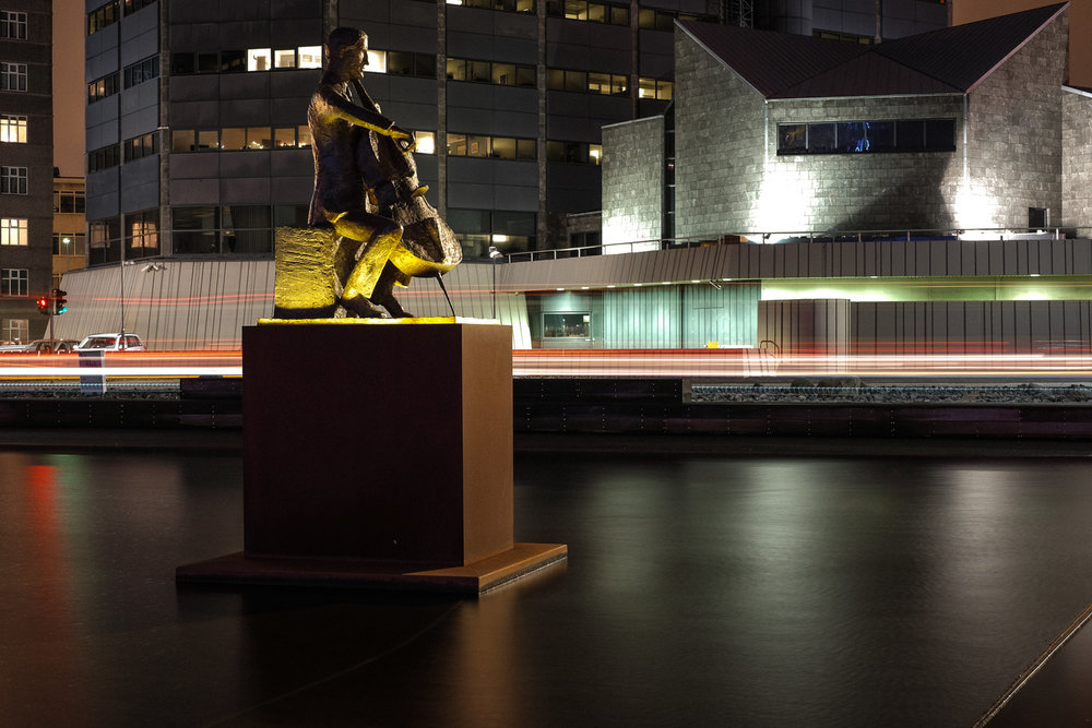 Light trails outside the Harpa music hall in Reykjavik. Mrs C showed a lot of patience with me whilst taking these shots! The statue is of Danish Cellist Erling Blondal Bengtsson.