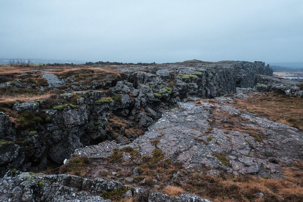 The tectonic rift between the North American and European continents in the Thingvellir national park. Utterly fascinating.