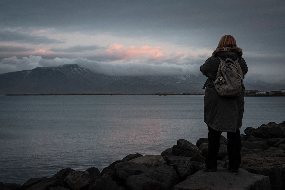 Mrs C on our first morning in Iceland.