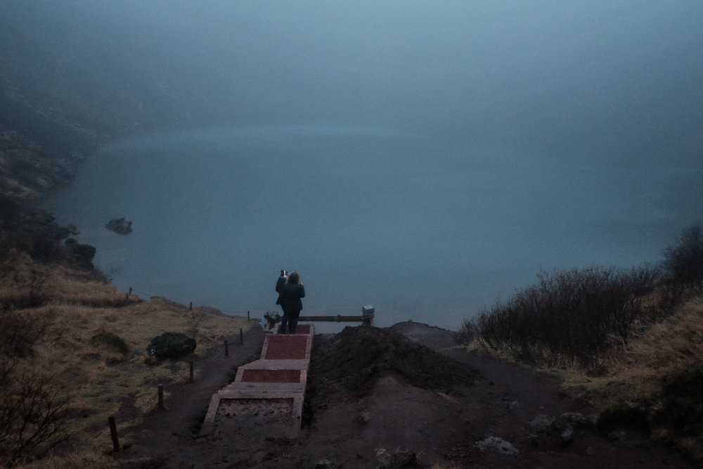 Walking into a volcanic crater at Sunrise. One of the most eerie and amazing experiences.