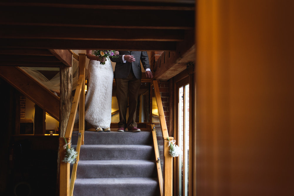 Heather making her way to the Ceremony at Curradine Barns with her Father.