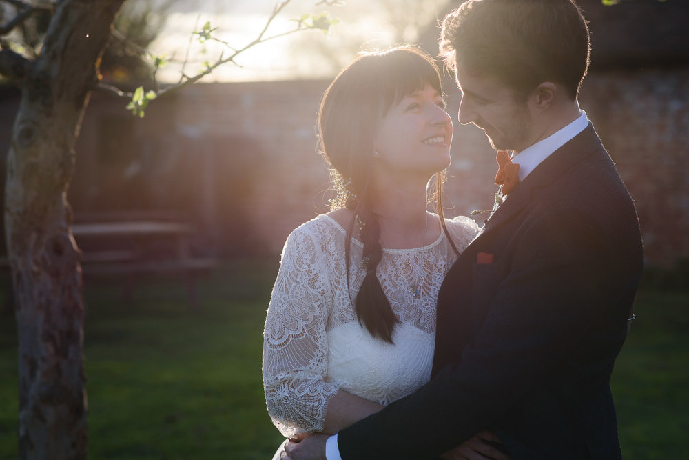Stunning evening light for this Bride and Groom at The Fleece Inn, Bretforton.
