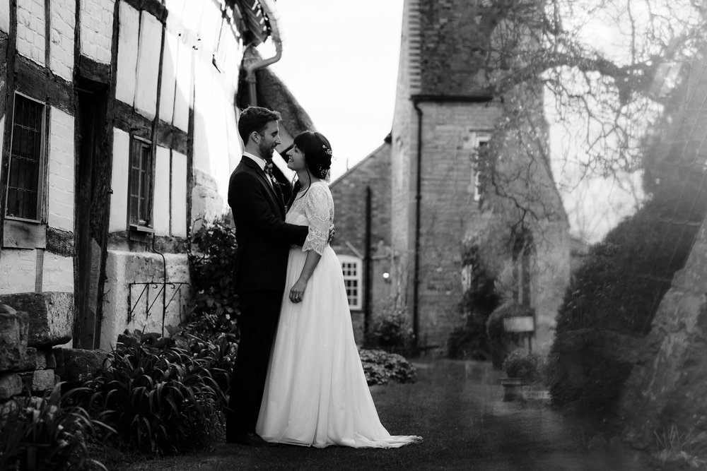 Bride and Groom Wedding Portrait at the Fleece Inn, Bretforton near Evesham.