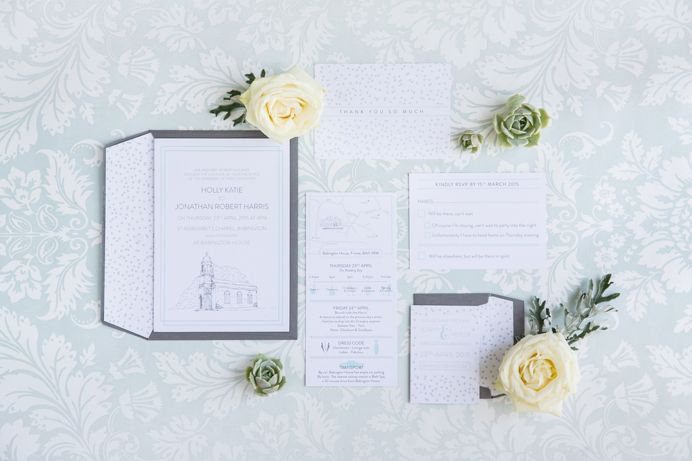 Holly and Jonny's bespoke wedding stationery for their Babington House wedding