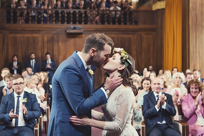 Danni and Matt on their wedding day at Stoke Newington Town Hall
