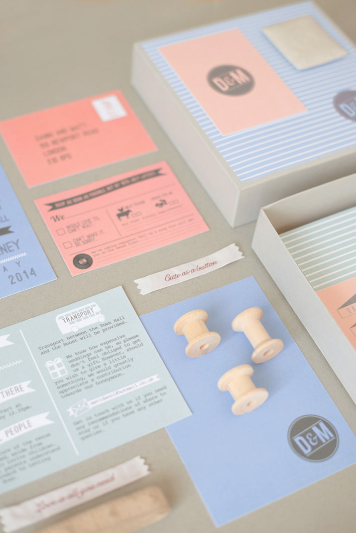 Bespoke wedding stationery, block colours, invitation, information, RSVP, banners, The Roost, London wedding