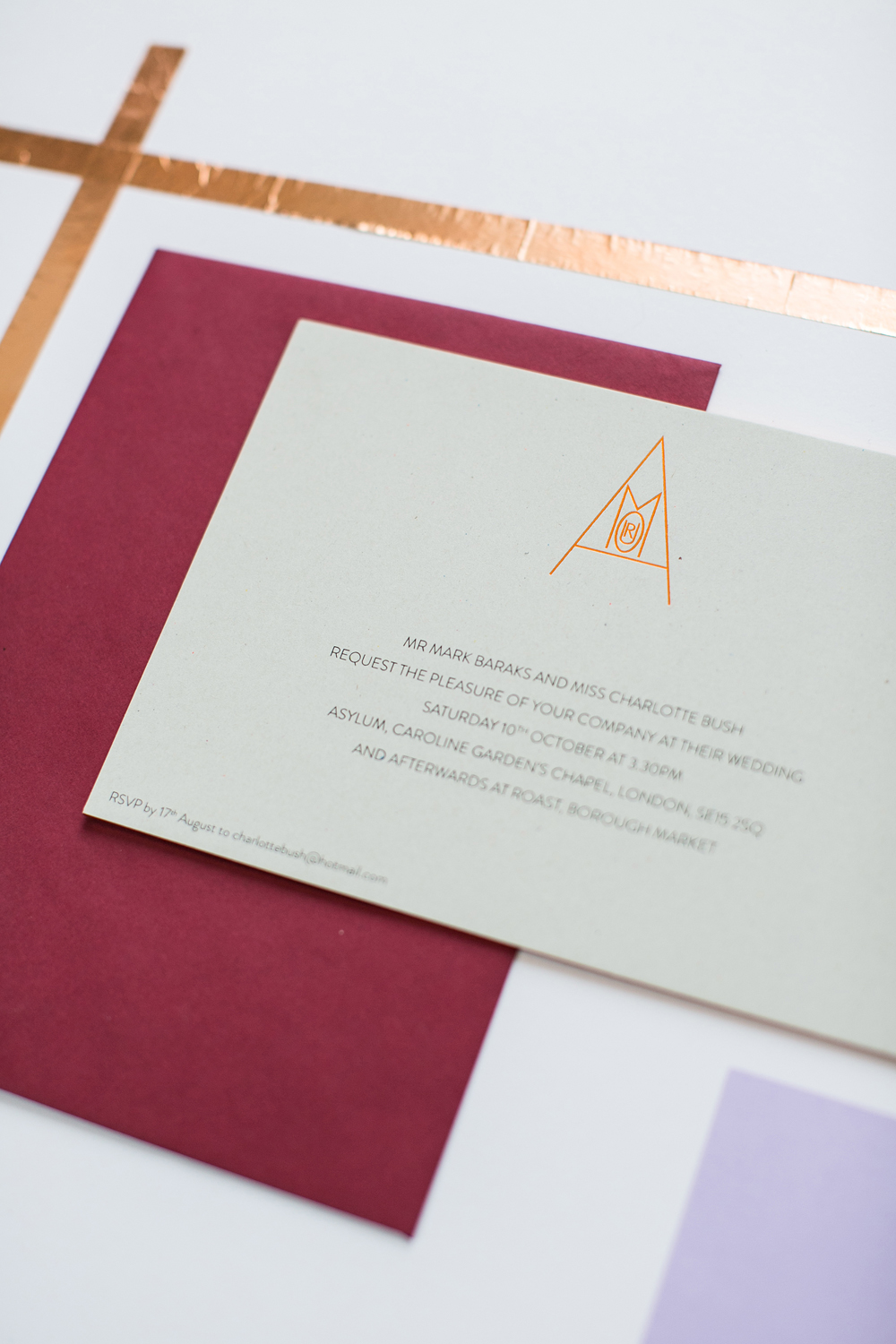 Charlotte and Mark's copper foiled stationery for a wedding at the Asylum, Peckham