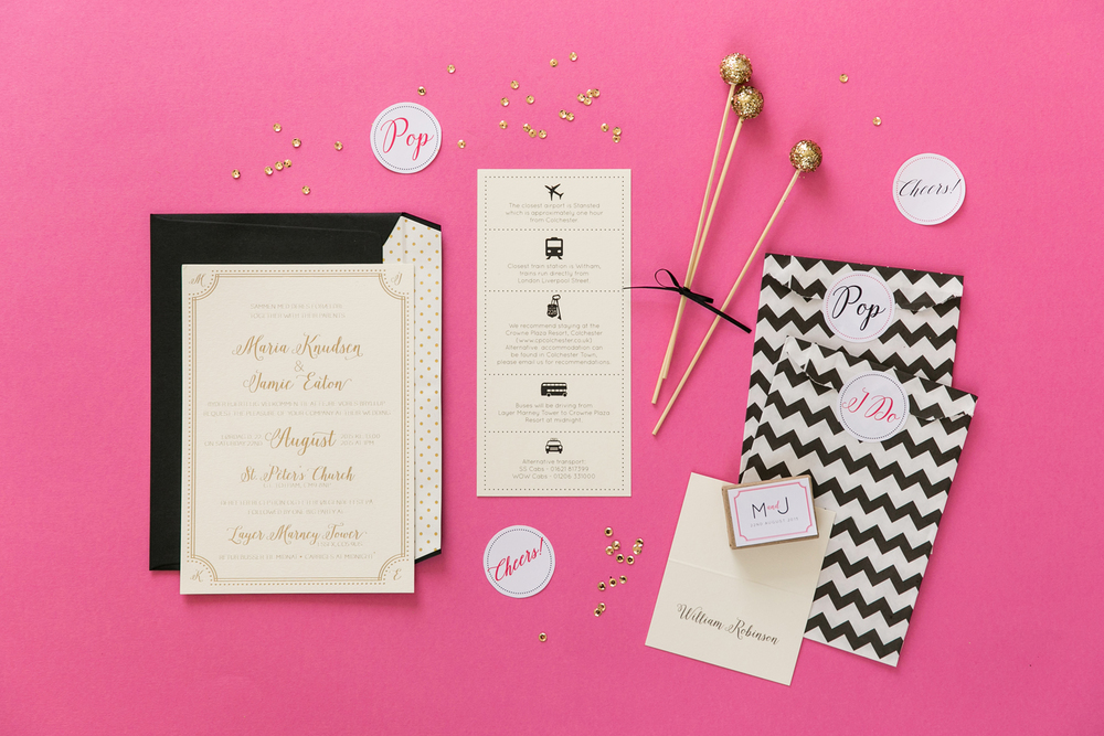 Maria and Jamie's luxe bespoke wedding stationery and their Layer Marney wedding.