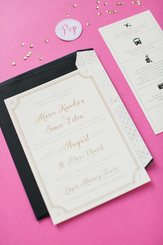Bespoke wedding stationery, gold foiled invitation, dual language, danish and english, information, hot pink