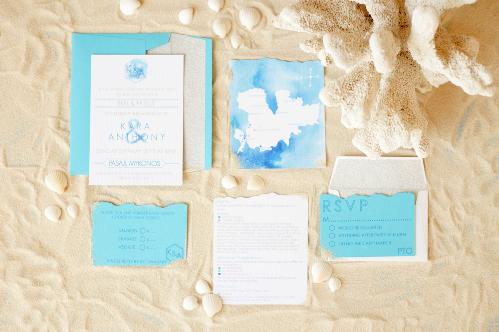Bespoke wedding stationery, Mykonos invitations, ombre, watercolour, glitter lines envelopes, turquoise and blue