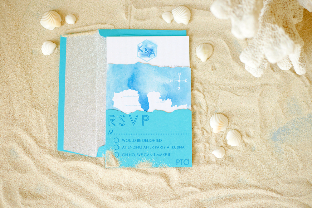 Bespoke wedding stationery, Mykonos invitations, ombre, watercolour, glitter lines envelopes, turquoise and blue, RSVP, Info