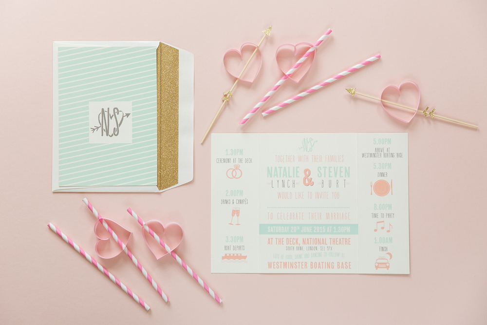 Pink, mint, gold, gatefold invitations, glitter lined envelopes, bespoke wedding stationery, London Wedding