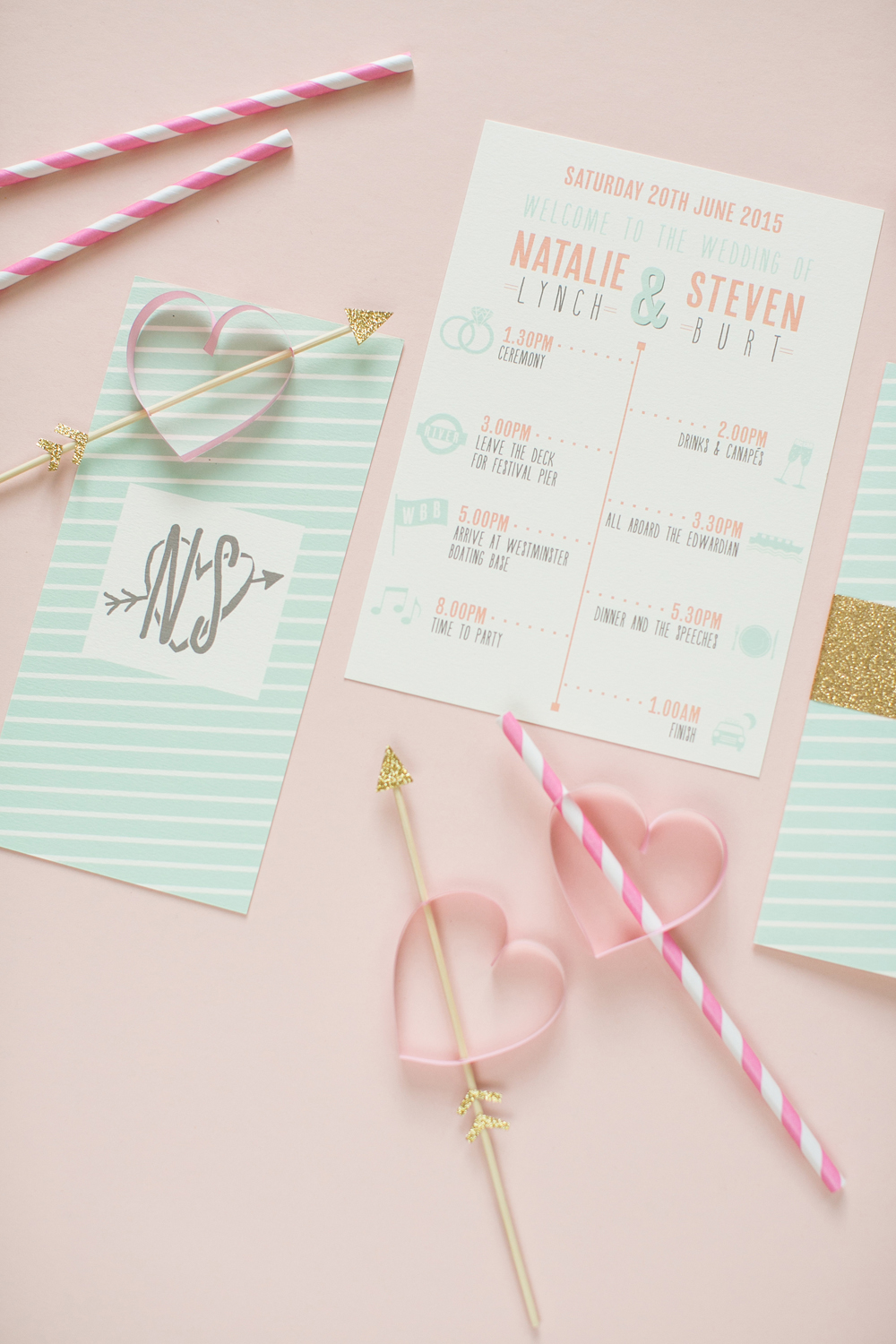 Natalie and Steve's bespoke peach and mint stationery for their wedding at the National Theatre