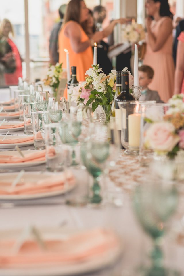 Natalie and Steve's tablescape at their wedding at the National Theatre