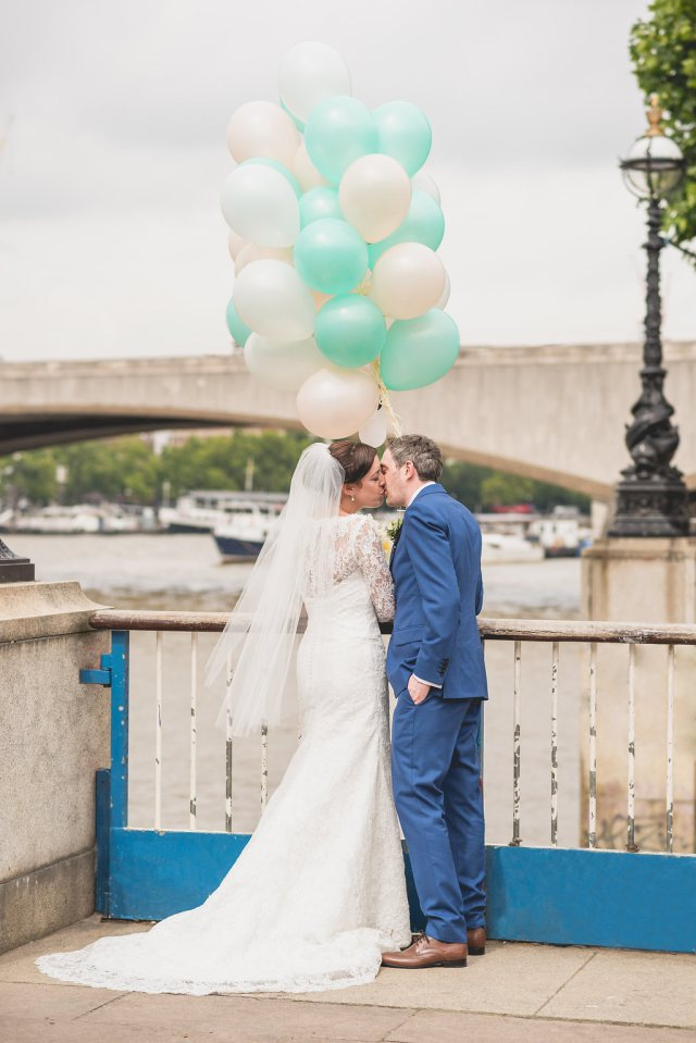 Natalie and Steve on their wedding day on the banks of the River Thames