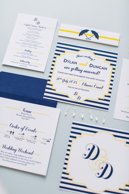 Bespoke wedding stationery, nautical invitations, blue and yellow, umbrellas, same sex wedding, Elmore Court