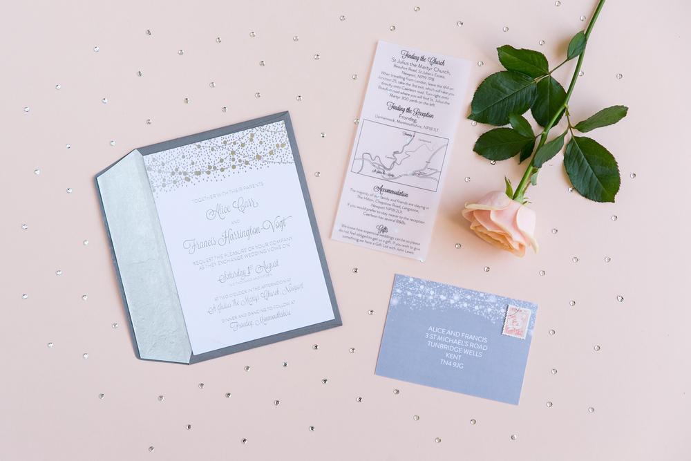 Bespoke wedding stationery, silver foiled invitation, information, RSVP, lined envelopes