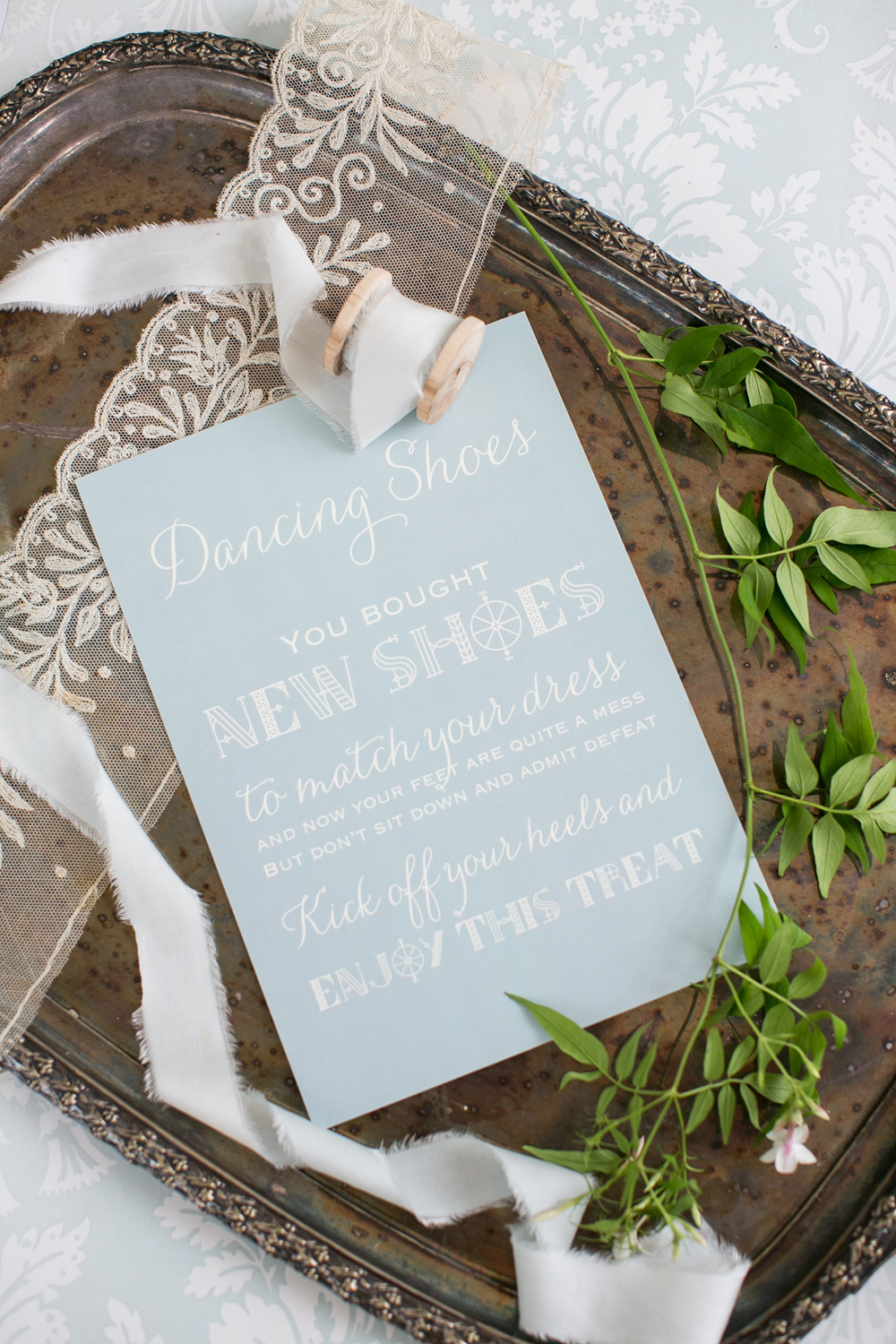 Sharn and Craig's pale blue and lace bespoke wedding stationery, for their Hedor House wedding