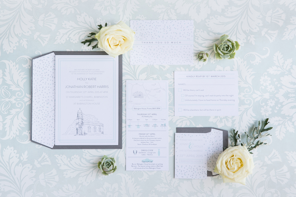 Babington House, bespoke wedding stationery, invitation, RSVP, information, map, confetti, mint and grey
