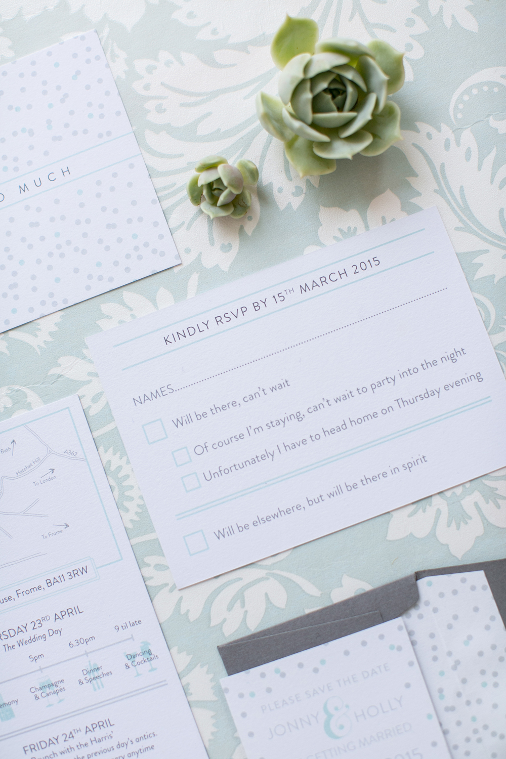 Holly and Jonny's Babington House bespoke RSVP