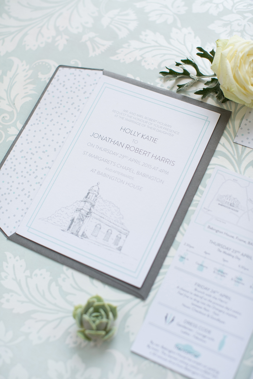 Babington House, bespoke wedding stationery, invitation, RSVP, information, map, confetti, mint and grey, Save the Date