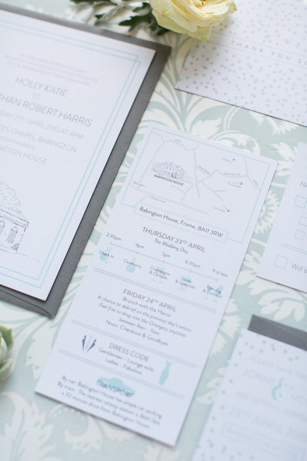 Holly and Jonny's Babington House bespoke Information card