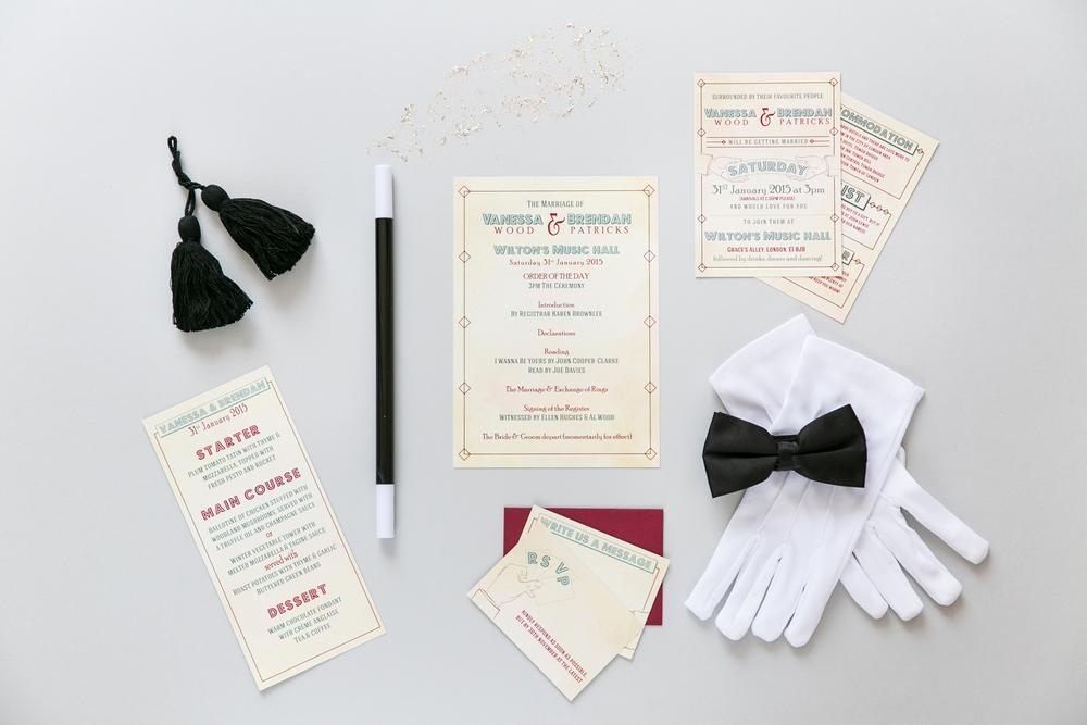 Vanessa and Brendan's Wilton's Music Hall bespoke wedding stationery
