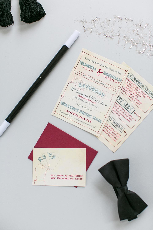 Wilton's Music Hall, bespoke wedding stationery, invitations, RSVP, magician, magic, sleight of hand