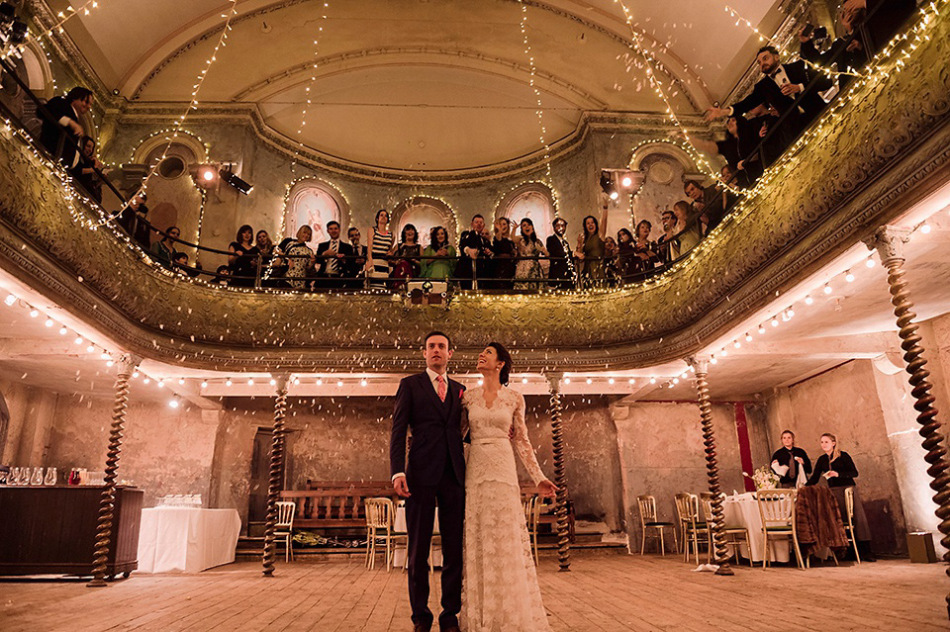 Vanessa and Brendan at their wedding at Wilton's Music Hall