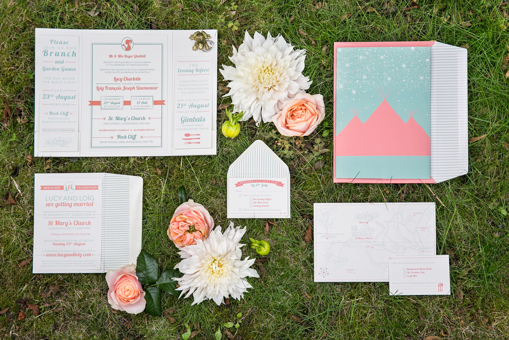 Bespoke wedding stationery, letterpress invitation, coral and sage, RSVP, map, information, lined envelopes, Papakata wedding, Save the Date, dual language, french and english, princess and the frog, lanterns, fairy lights
