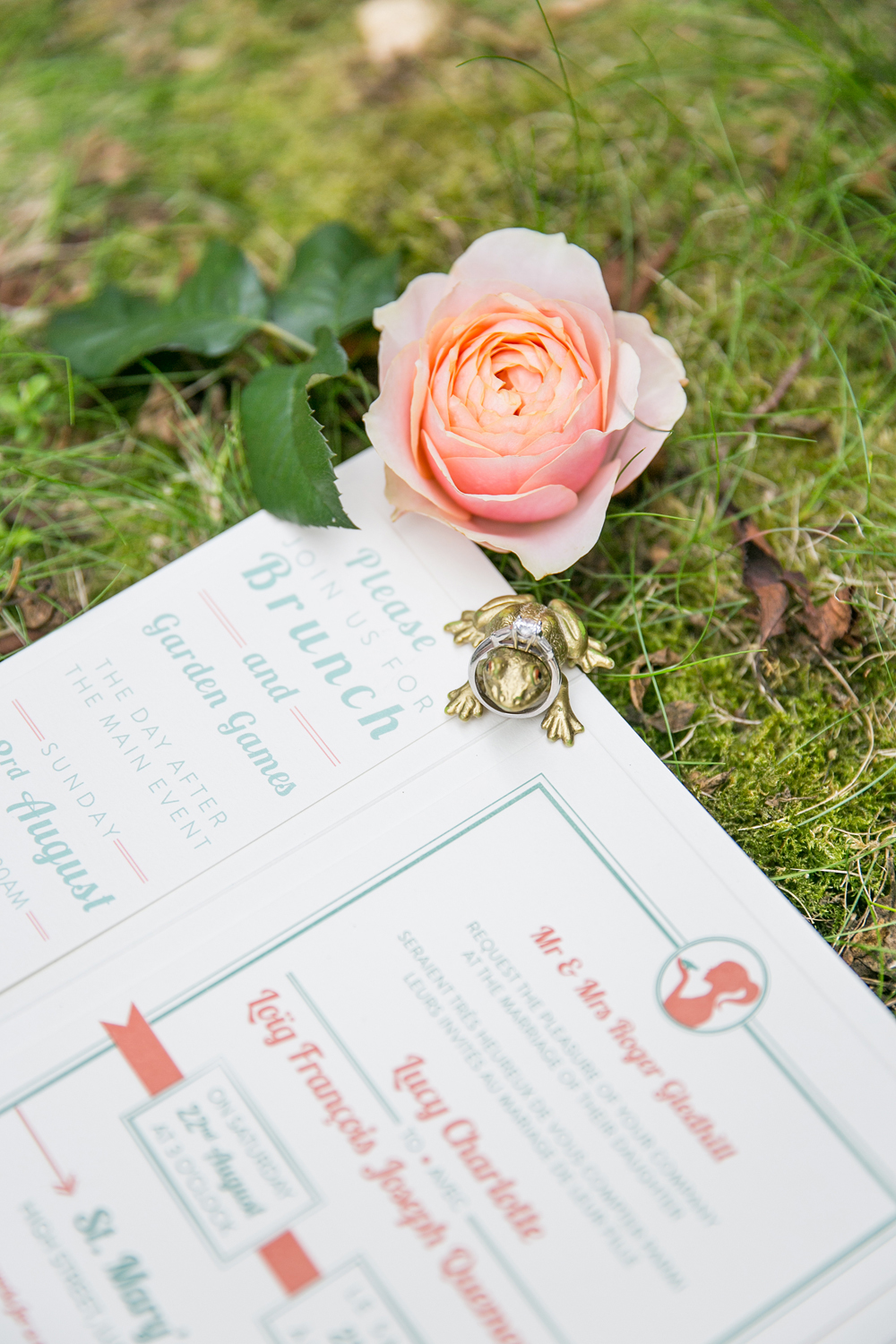 Bespoke wedding stationery, letterpress invitation, coral and sage, RSVP, map, information, lined envelopes, Papakata wedding, Save the Date, dual language, french and english, princess and the frog